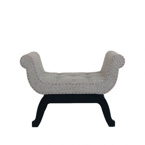 Grey Tufted Stud Velvet Ottoman Bench Seat Chair