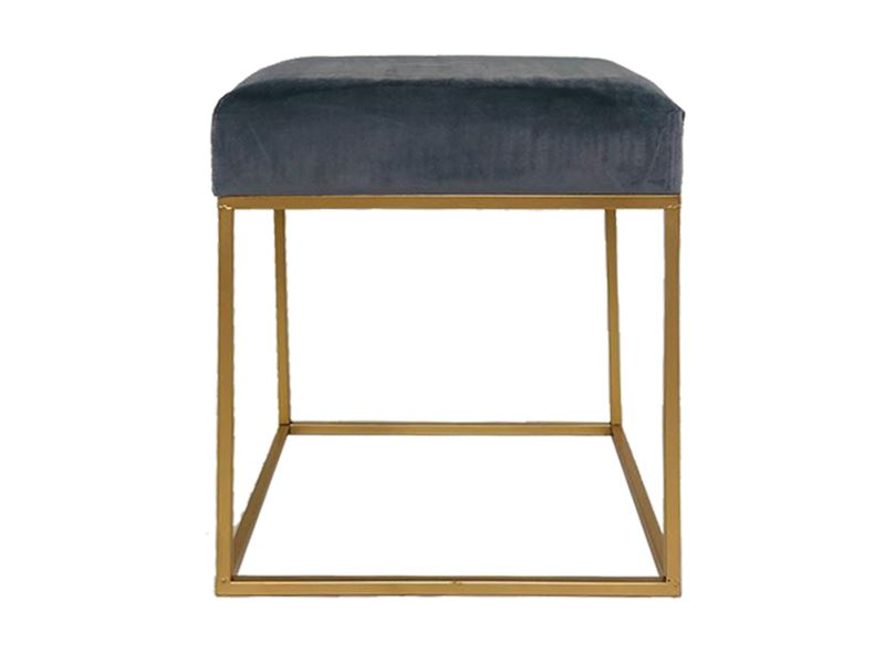Grey Velvet Seat Metal Stool Ottoman Chair