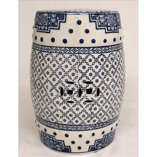 Hamptons Blue and White Ceramic Stool Side Table