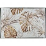 Hamptons Monstera Leaves Framed Canvas Print Wall Art