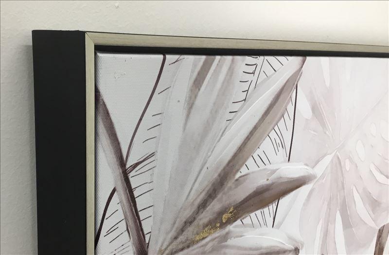 Hamptons Monstera Leaves Framed Canvas Print Wall Art