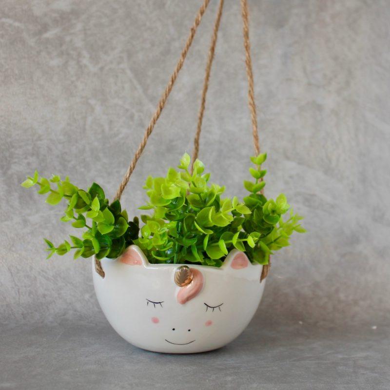 Hanging Unicorn Pot Planter