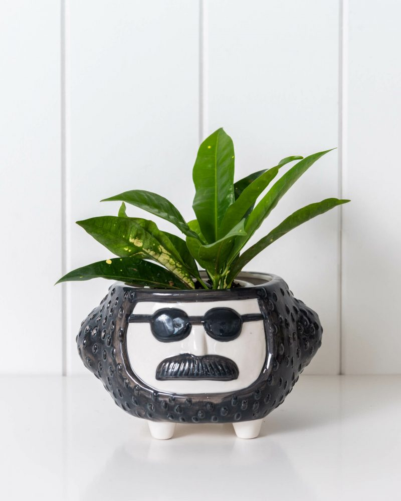 Hippie Face Ceramic Pot Planter On Legs - Black and White