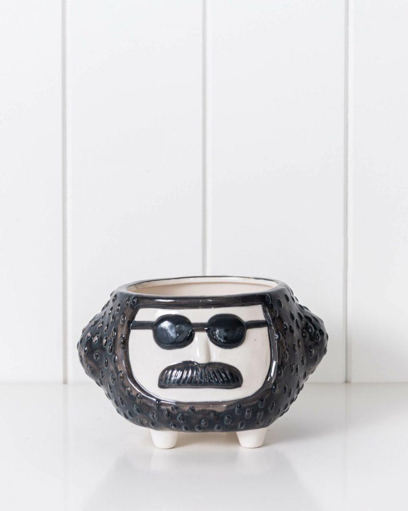 Hippie Face Ceramic Pot Planter On Legs - Black and White.