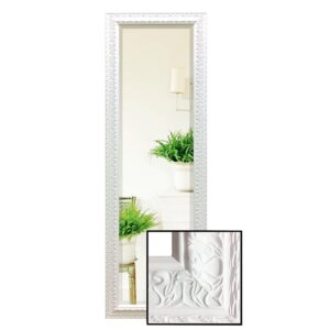Large Contemporary White Pattern Full Length Dressing Mirror