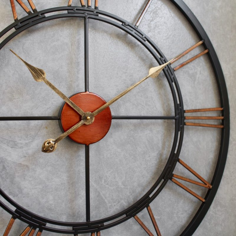 Large Copper and Black Roman Numerals Metal Wall Clock