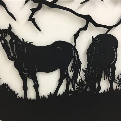 Large Grazing Horse Black Metal Wall Hanging Art