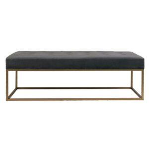 Large Grey Upholstered Velvet Ottoman Seat Bench Chair