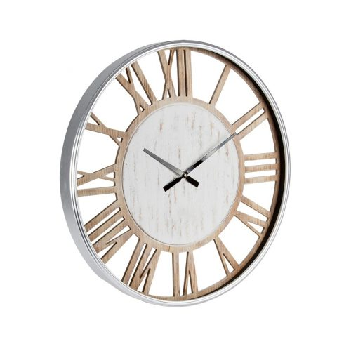 Large Hamptons White Wooden Wall Clock With Glass Front