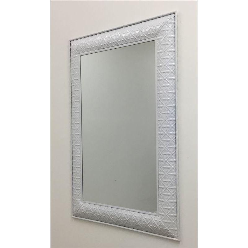 Large Matt White Rectangle Metal Wall Hanging Mirror
