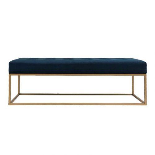 Large Navy Blue Velvet Ottoman Seat Bench Chair