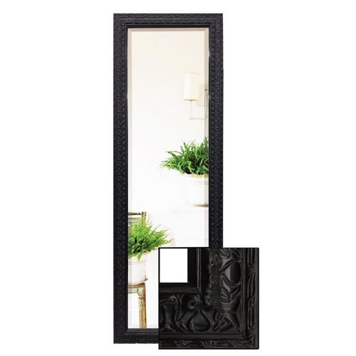 Large Traditional Black Pattern Full Length Dressing Mirror