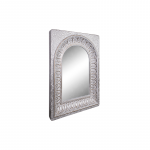 Large White Pressed Metal Moroccan Arched Wall Mirror_1