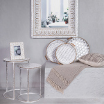 Large White Pressed Metal Moroccan Arched Wall Mirror_2