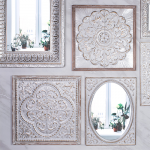 Large White Pressed Metal Moroccan Arched Wall Mirror_3