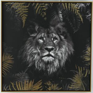 Lion In Jungle Framed Canvas Print Wall Art