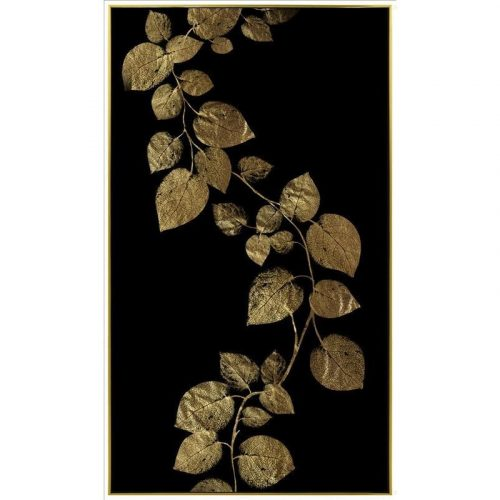 Luxe Golden Leaves on Black Framed Canvas Print Wall Art
