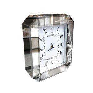 Luxe Modern Glass Mirror Console Table Desk Clock