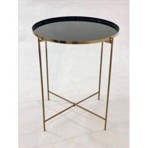 Metal Bed Side Table With Champagne Legs - Black