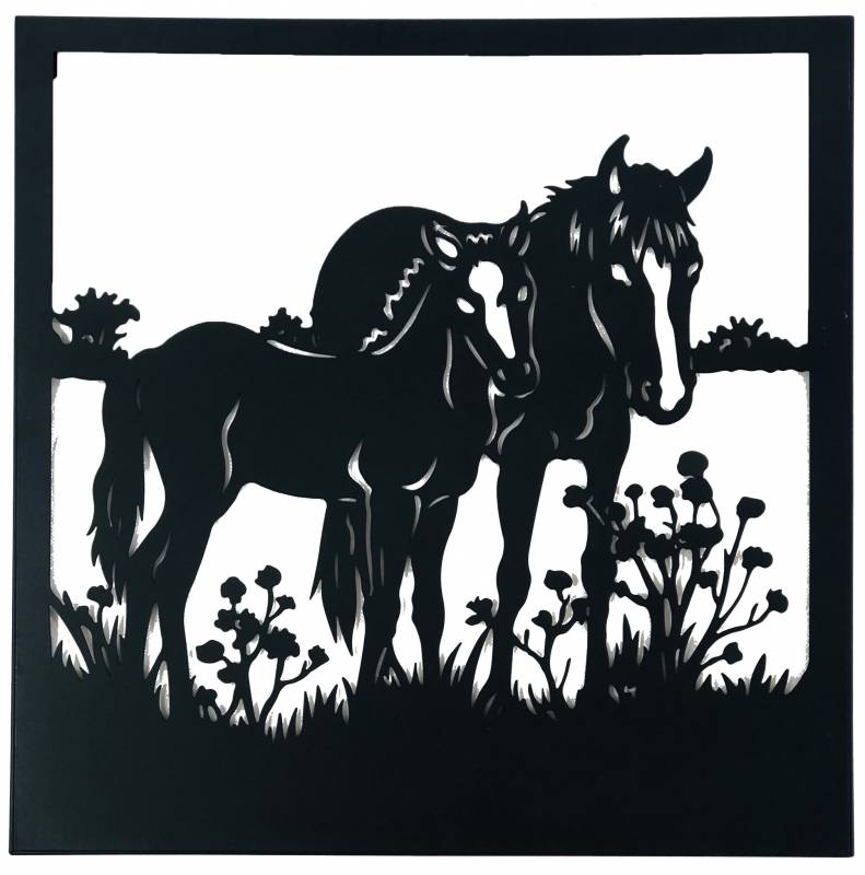 Mother and Baby Horse Metal Wall Art Decor