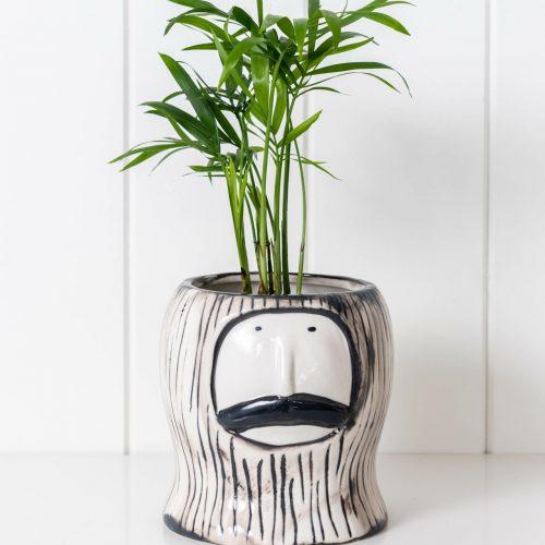 Mr. Gentleman Face Pot Planter - Ceramic, White and Black