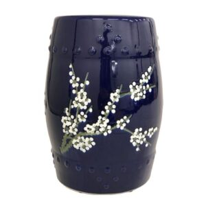 Navy Blue Floral Ceramic Stool Side Table