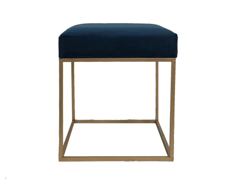 Navy Blue Velvet Seat Stool Ottoman Chair