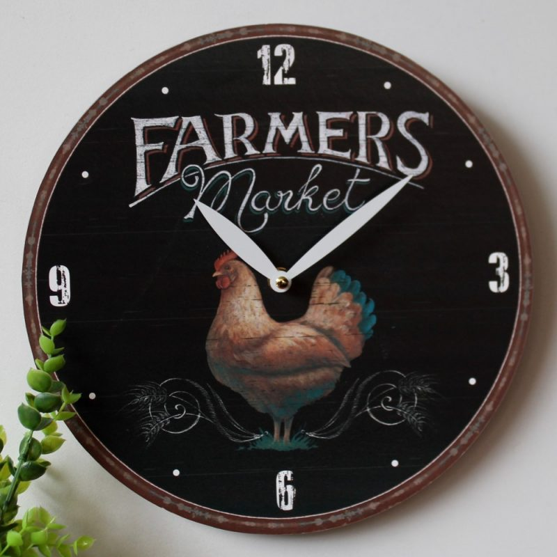 Rooster Wall Clock - Country Farmhouse Style, Black