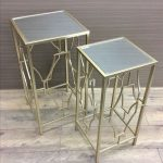 Set Of 2 Champagne Metal Mirror Side Coffee Tables