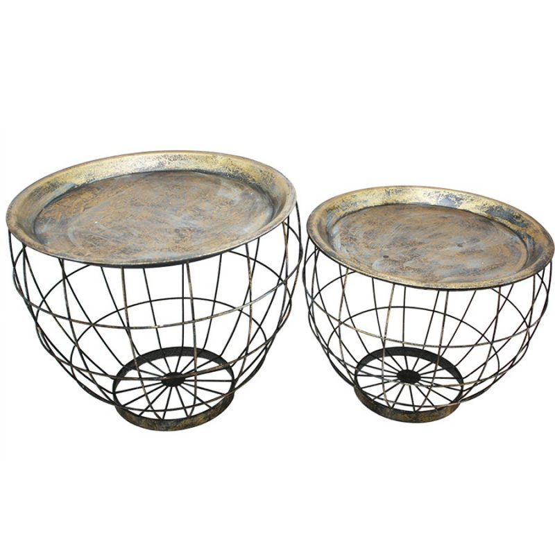 Set Of 2 Distressed Gold Metal Wire Basket Bed Side Tables