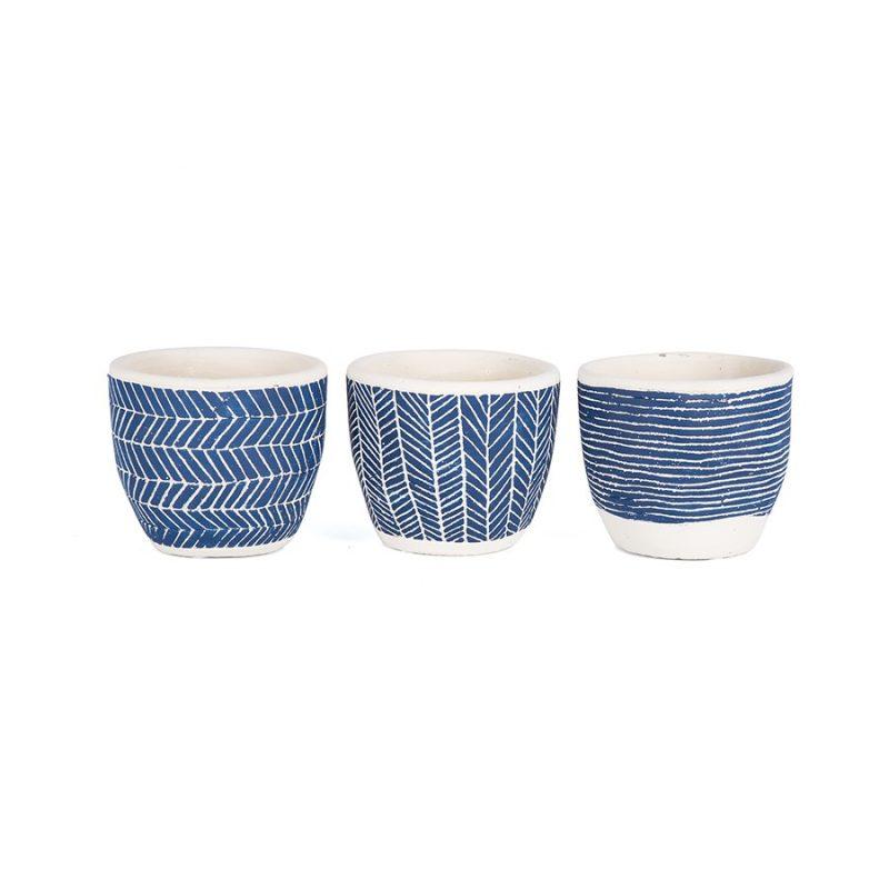 Set of 3 Hamptons Navy Blue Terracotta Pot Planters