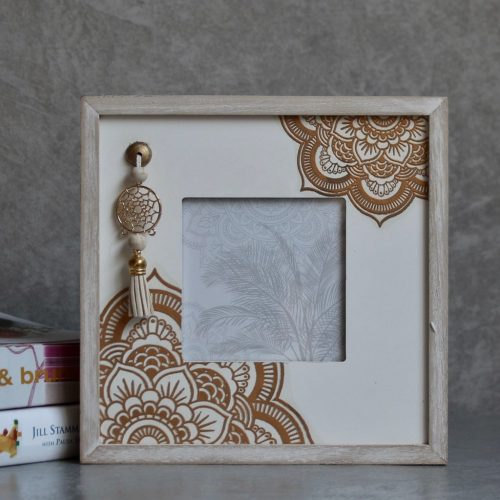 Shabby Chic Boho Mandala Wooden Square Photo Frame