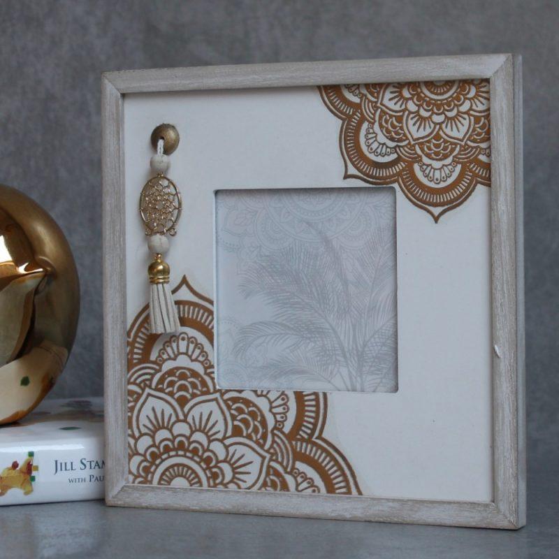 Shabby Chic Boho Mandala Wooden Square Photo Frame