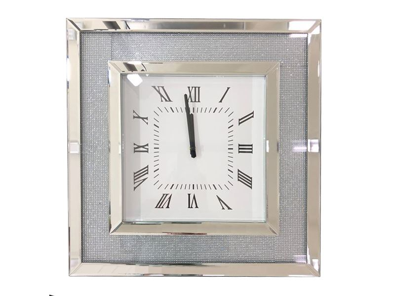 Silver Beads Crystals Glass Mirror Wall Hanging Clock