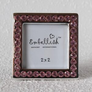 Show off your true memories in a stone-inspired style with this Silver Photo Frame With Pink Stones - Set of 3. Features a free standing square picture frame High-quality glass and stones are used Free standing frame to place on console table, hallway table,side table or any shelf in your home Holds one (1) 2×2 inch picture Perfect gift for a wedding favour