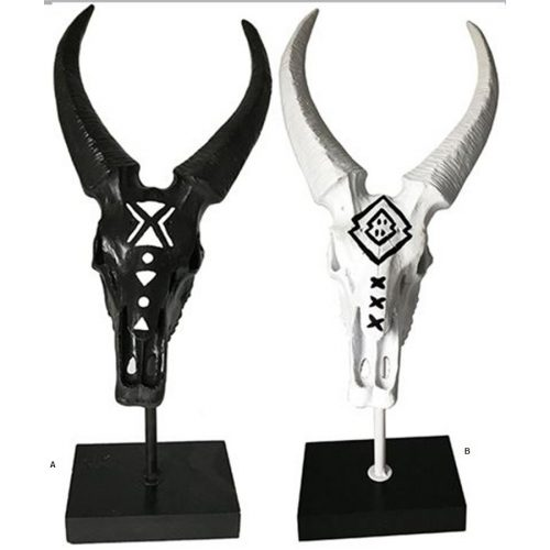 Tall Black Wooden Tribal Goat Animal Skull Sculpture