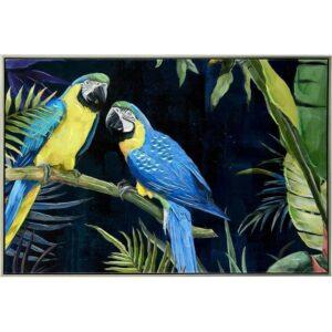 Twin Blue Parrot Birds Framed Canvas Print Wall Art
