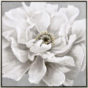 White Bloomy Flower Framed Canvas Print Wall Art