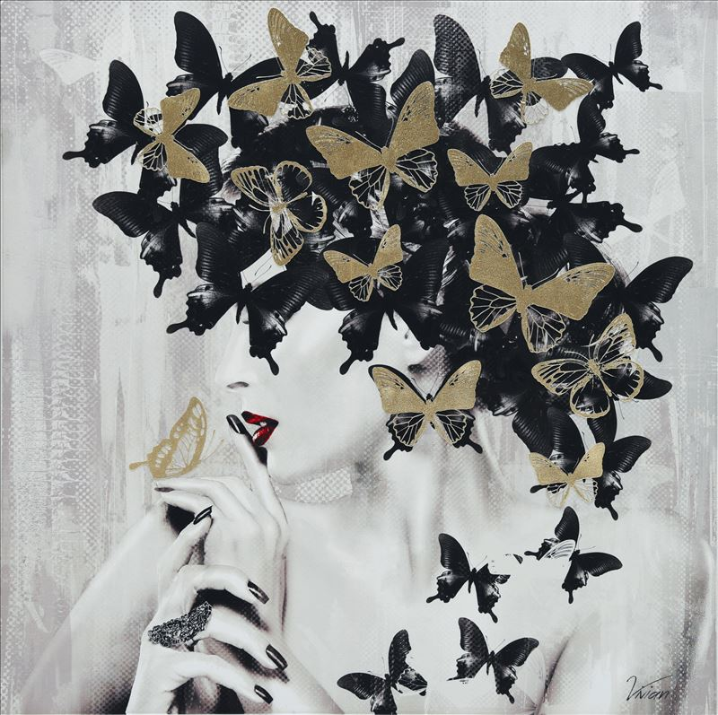 White Lady With Butterflies Framed Canvas Print Wall Art