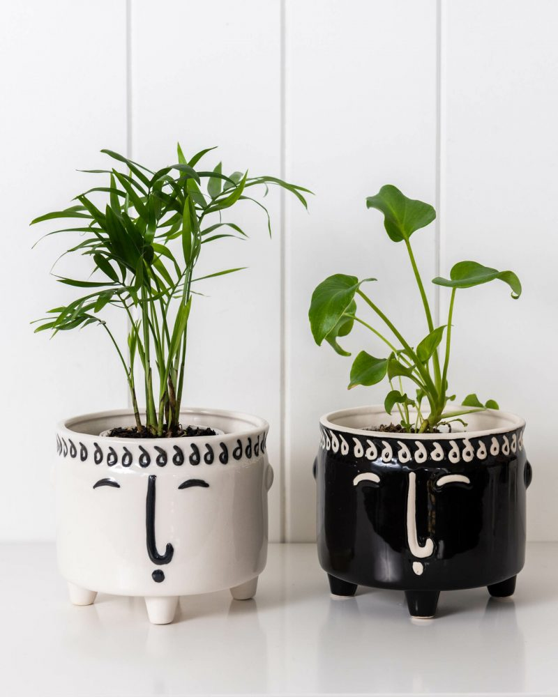 White and Black Ceramic Footed Face Pot Planter
