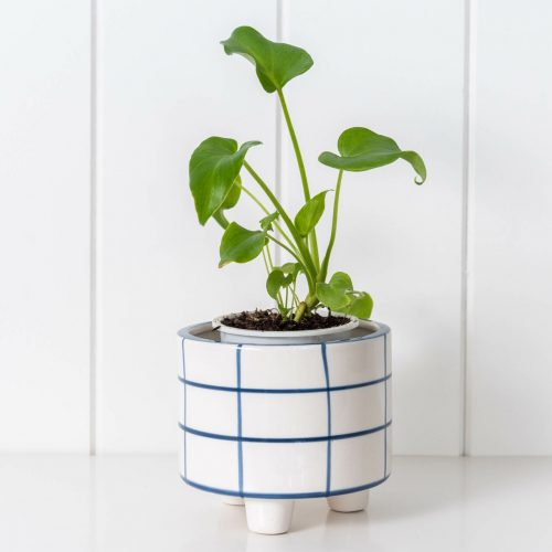 White and Blue Geometric Ceramic Footed Pot Planter