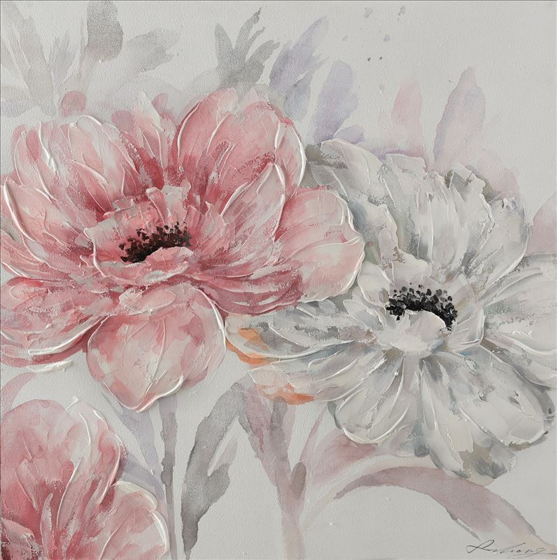 White and Pink Flowers Floral Framed Canvas Print Wall Art