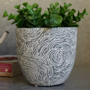 Blue Rose Flower Concrete Pot Planter