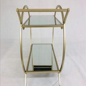 Champagne Izzy Metal and Glass Bar Cart Drinks Auto Trolley