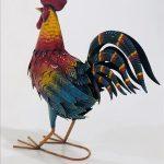 Colourful Rooster Chicken Metal Bird Figurine_1