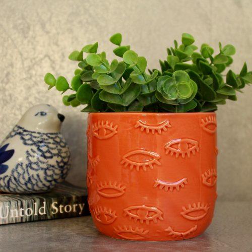 Orange Coral Eye Ceramic Pot Planter