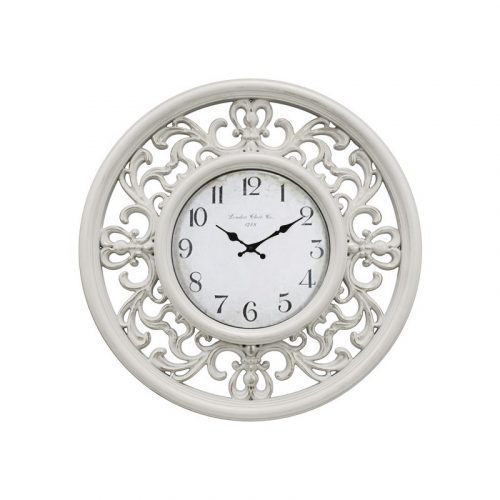 Distressed White French Filigree Wall Clock