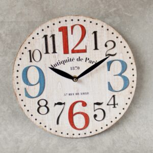 French Vintage White Wooden Wall Clock