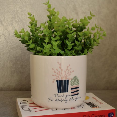 Glossy Pink and White Ceramic Pot Planter