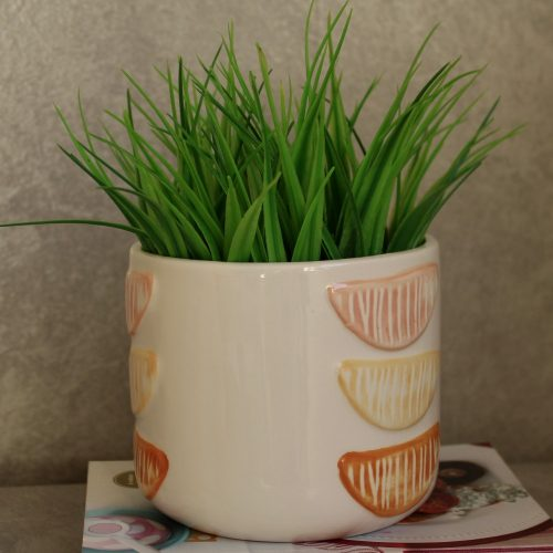 Glossy White and Orange Ceramic Pot Planter